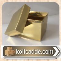 Kapaklı Karton Kutu 8x8x6,5 cm Gold Metalize