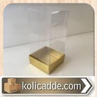 Asetat Kapaklı Gold Rengi Kutu 5x5x9 cm.