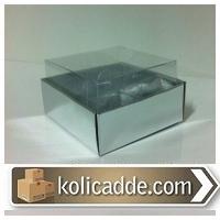 Gümüş Metalize Karton Asetat Kutu 6x6x2,5 cm