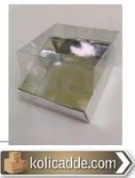 Gümüş Renkli Karton Kutu Asetat Kapak 5x5x2,2 cm