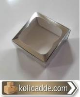 Gümüş Rengi Pencereli Kutu Asetat 8x8x3 cm