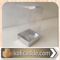 Şeffaf Kapaklı Metalize Gümüş Karton Kutu 5x5x9 cm