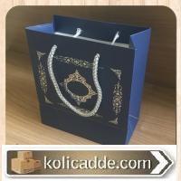 Gümüş Yaldızlı Lacivert Karton Çanta 20x20x10 cm