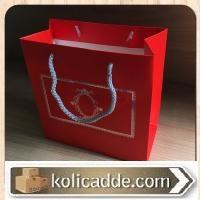 Gümüş Yaldızlı Kırmızı Karton Poşet 20x20x10 cm