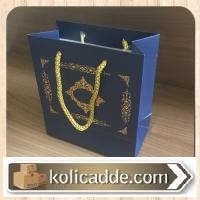 Altın Rengi İpli Karton Çanta 15,5x17x8 cm