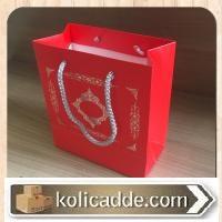 İpli Kırmızı Karton Çanta 15,5x17x8 cm
