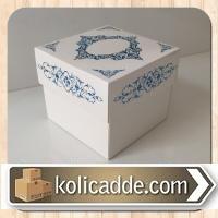 Desenli Kraft Kutu 8x8x6,5 cm. Beyaza Mavi