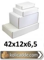 Kilitli Beyaz Karton Kutu 42x12x6,5 cm.