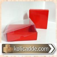 Kırmızı Karton Kutu Şeffaf Kapak 8x8x3 cm