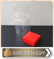 Asetat Kapaklı Kırmızı Karton Kutu 6x6x25 cm.