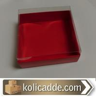 Kırmızı Karton Kutu Asetat Kapak 12x12x3 cm
