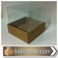 Kraft Karton Kutu Asetat Kapak 10x10x16 cm.