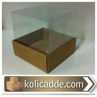 Kraft Kutu Asetat Kapaklı 10x10x12 cm