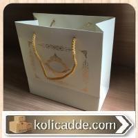 Altın Varak Desenli Karton Çanta 20x20x10 cm