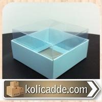 Alt Mavi Karton Üst Asetat Kapaklı Kutu 8x8x5 cm