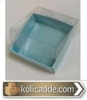 Asetat Kapaklı Mavi Karton Kutu 5x5x2,2 cm