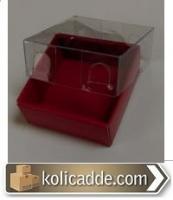 Asetat Kapaklı Kırmızı Minik Kutu 5x5x2,2 cm.