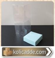 Asetat Kapaklı Mavi Karton Kutu 6x6x25 cm.