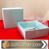 Mavi Karton Kutu Şeffaf Kapaklı 8x8x3 cm