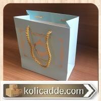 Desenli Mavi Küçük Karton Çanta 15,5x17x8 cm