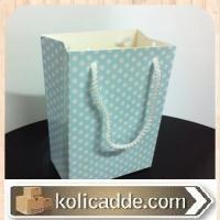Mavi Puantiyeli Karton Poşet 10x14x5 cm