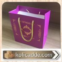 Altın Varak Mor Karton Çanta 15,5x17x8 cm
