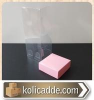 Asetat Kapaklı Pembe Karton Kutu 6x6x25 cm.