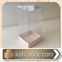 Asetat Kapaklı Pembe Puanlı Kutu 5x5x9 cm.
