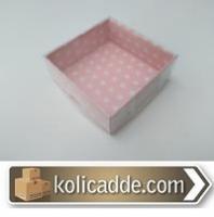 Pembe Puanlı Asetat Kapaklı Kutu 8x8x3 cm
