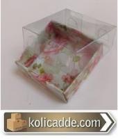 Asetat Kapaklı Çiçekli Kraft Kutu 5x5x2,2 cm