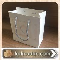 Simli Beyaz Karton Çanta 15,5x17x8 cm