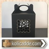 Siyah Hediye Kutusu Lazer Kesimli 10x10x10 cm.
