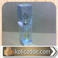 Asetat Kapaklı Parlak Gümüş Kutu 6x6x25 cm