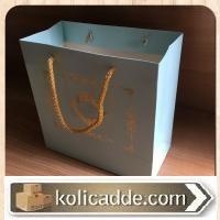 Mavi Zemin Varak Yaldızlı Karton Çanta 20x20x10 cm