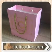 Altın Varaklı Mini İpli Pembe Karton Çanta 15,5x17x8 cm