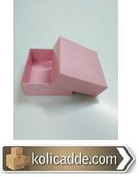 Pembe Kapaklı Karton Kutu 8x8x3,5 cm