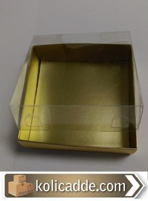 Gold Karton Kutu Asetat Kapak 10x10x6 cm-KoliCadde