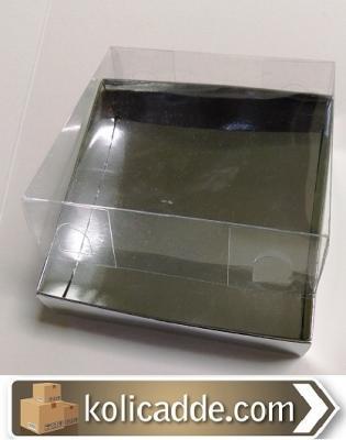 Gümüş Karton Kutu Asetat Kapak 10x10x6 cm-KoliCadde