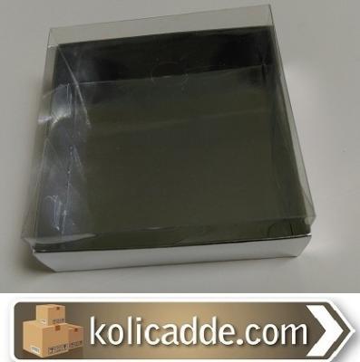 Gümüş Metalize Kutu Asetat Kapak 10x10x4 cm-KoliCadde