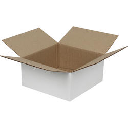 Tek Oluklu Beyaz Karton Kutu 20x20x10 cm-KoliCadde