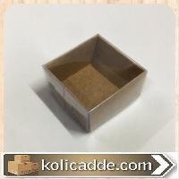 Küçük Üstü Asetat Kapaklı Altı Kraft Karton Kutu 4x4x2 cm-KoliCadde