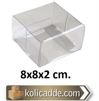 Şeffaf Asetat Kutu 8x8x2 cm.