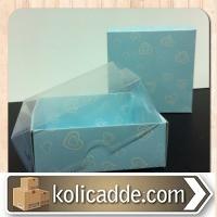 Mavi Kalpli Karton Kutu Asetat Kapaklı 8x8x3 cm
