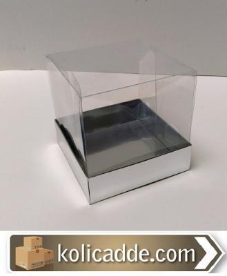 Gümüş Karton Kutu Asetat Kapaklı 10x10x12 cm-KoliCadde