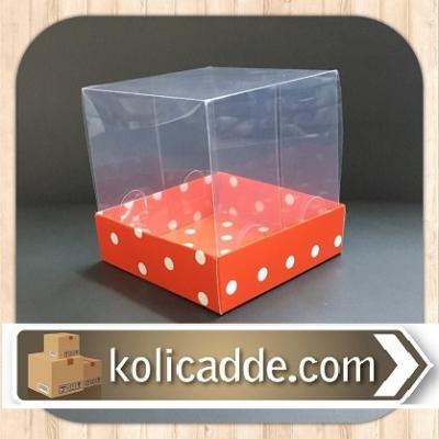 Asetat Kutu Puanlı Kırmızı Karton 10x10x12 cm-KoliCadde