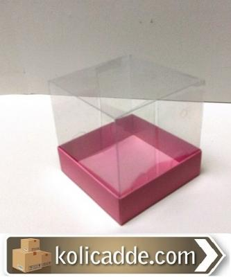 Asetat Kapaklı Pembe Karton Kutu 10x10x10 cm-KoliCadde