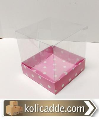 Asetat Kutu Puanlı Pembe Karton 10x10x12 cm-KoliCadde