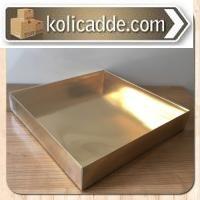 Asetat Kapaklı Altın Sarısı Kutu 30x30x5 cm-KoliCadde