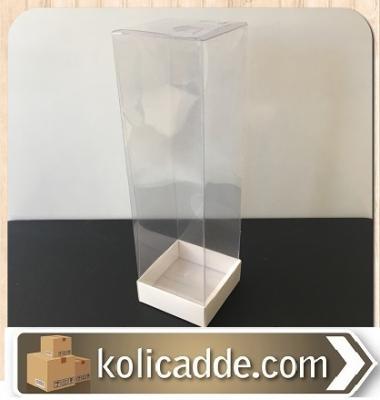 Asetat Kapaklı Beyaz Kutu 6x6x25 cm.-KoliCadde