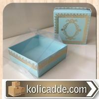 Asetat Kapaklı Maviye Gold Karton Kutu 8x8x3 cm-KoliCadde
